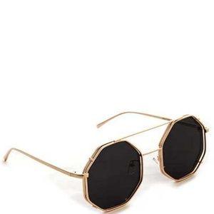 Accessories - Black Gold Octagonal Sunglasses